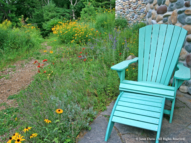 A Muskoka chair at my Lake Muskoka cottage - not quite jade-vine coloured, but close.