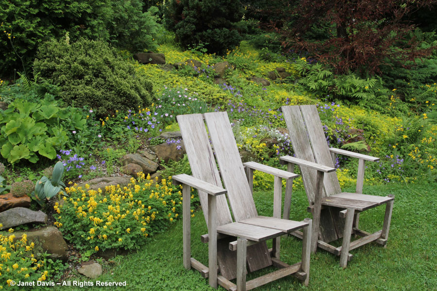 07-Chairs & yellow-blue plantings