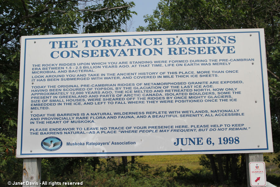 Torrance Barrens - sign