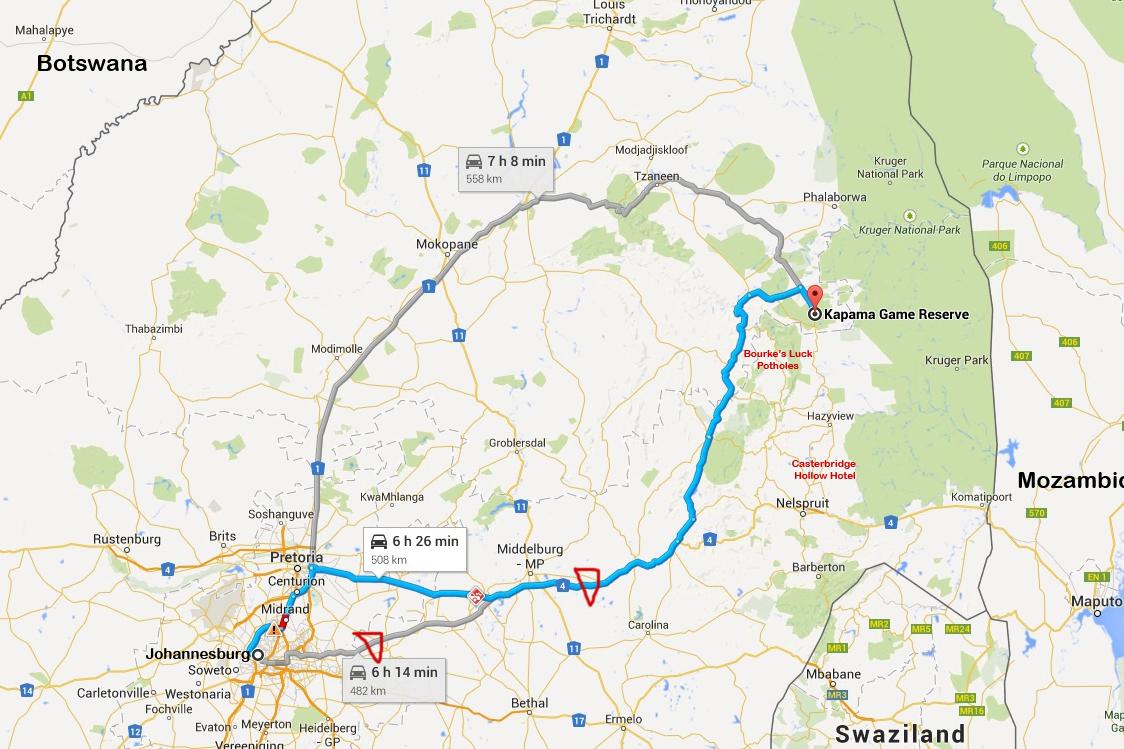 Route-Johannesburg to Kapama