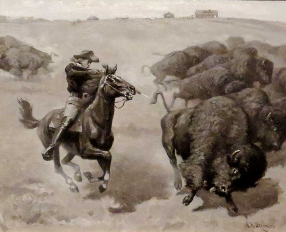 Bill Cody Hunting Buffalo-Charles H. Stevens-1911