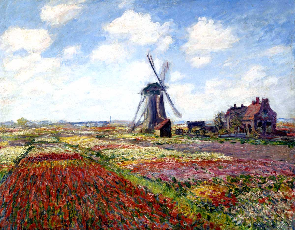 Claude Monet - Tulip Fields With The Rijnsburg Windmill - 1886