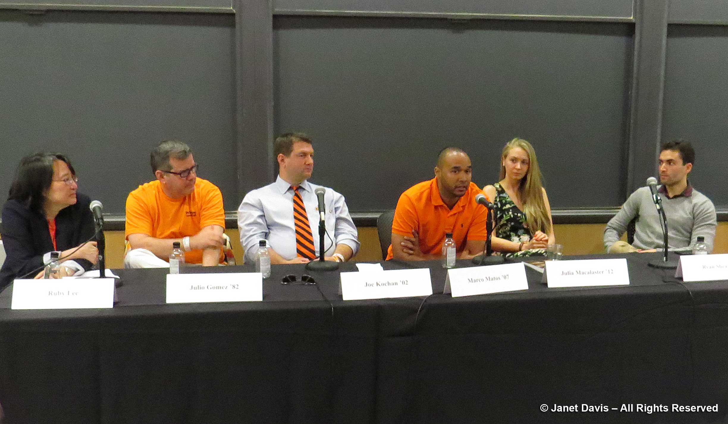 "Panel for ""The Next Big Thing in Tech"", Princeton Reunions 2017 (left to right): Moderator Ruby Lee, Forrest G. Hamrick Prof. of Electrical Engineering; Julio Gomez '82, Financial Services Technology Strategist; Joe Kochan '02, Co-Founder and COO, US Ignite; Marco Matos '07, Product Manager; Facebook; Julia Macalaster '12, Head of Strategy, Def Method; Ryan Shea '12, Co-founder, Blockstack."