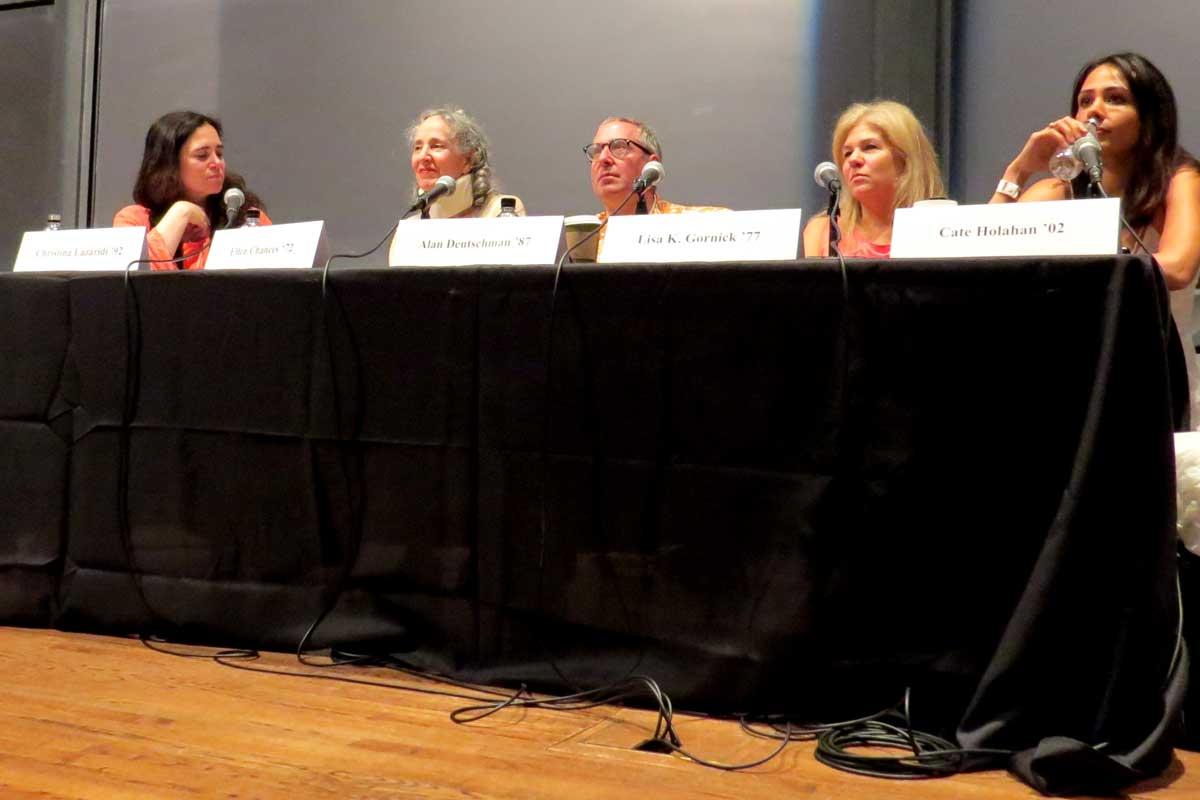 "Panel for ""The Writer's Craft"", Princeton Reunions 2017 (left to right): Moderator Christina Lazaridi '92, Lecturer in Creative Writing; Ellen Chances '72, Prof. of Slavic Languages & Literatures; Lisa K. Gornick '77, Novelist; Alan Deutschman '87, author; Cate Holahan '02 author."