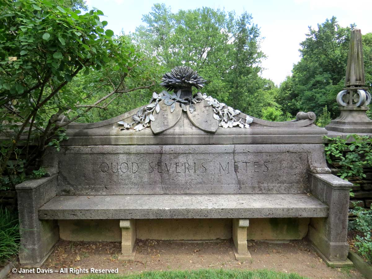 Stone Bench-Rose Garden-Quod Severis Metes-Dumbarton Oaks