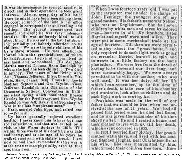 Madison Hemings-references to Thomas Jefferson-1873-Pike County Republican-text