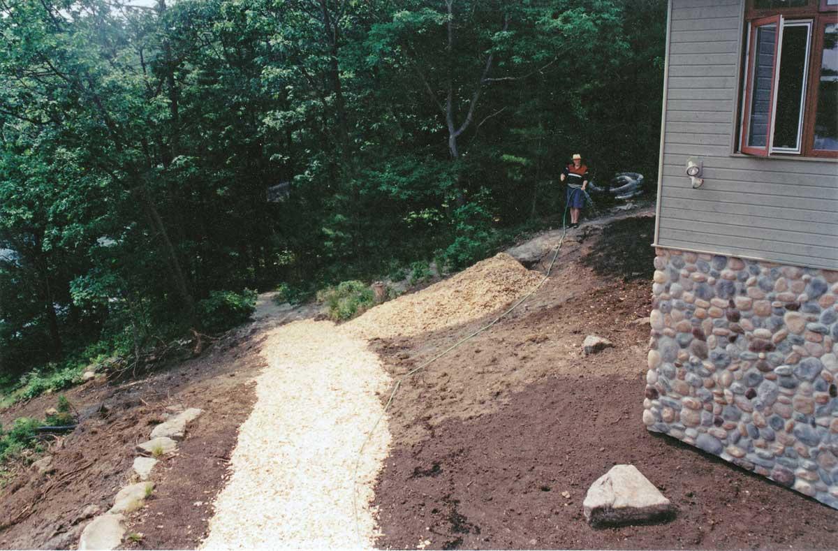 Lake Muskoka Cottage-watering seeds-Summer-2002