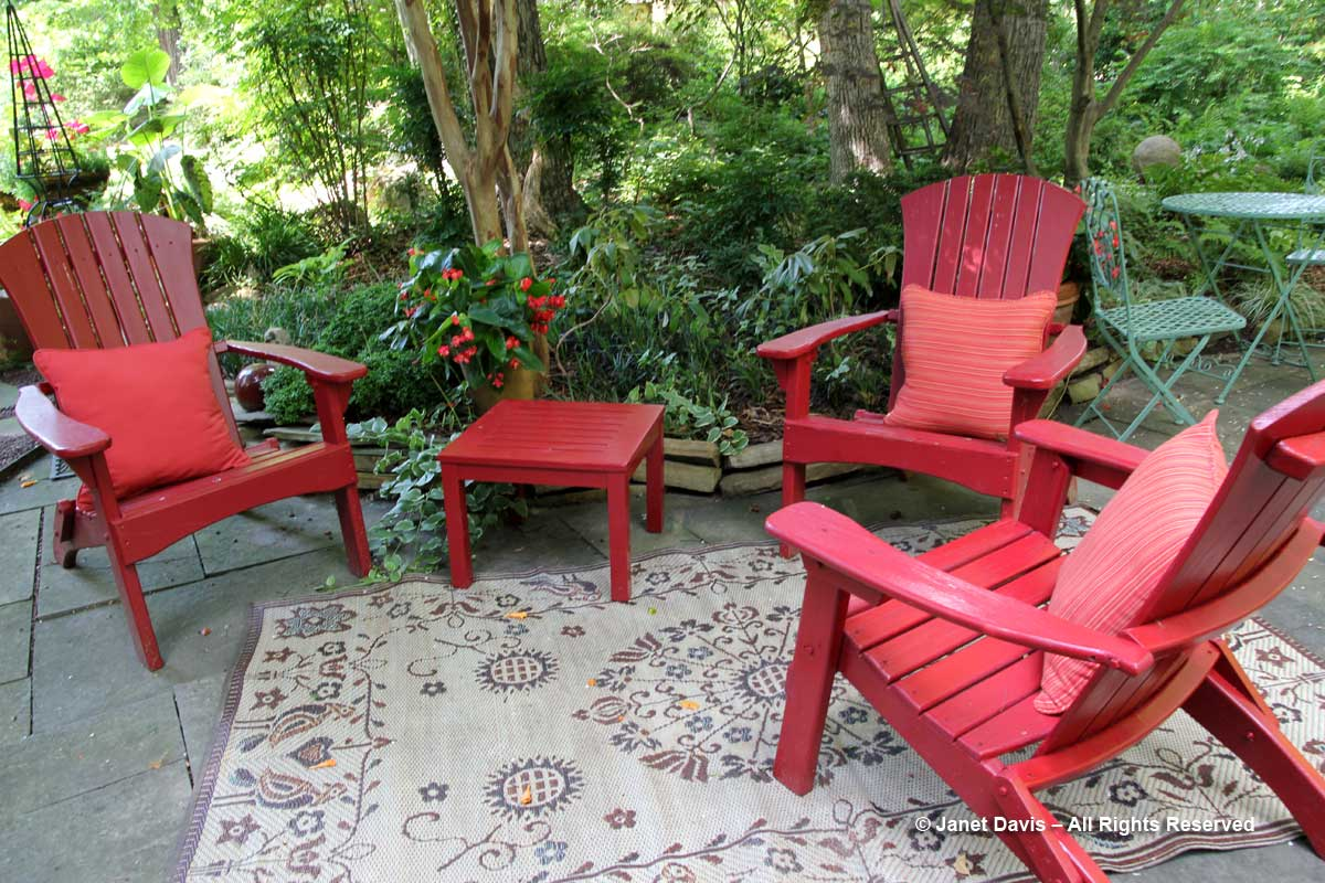 Peg Bier-Red Adirondack chairs