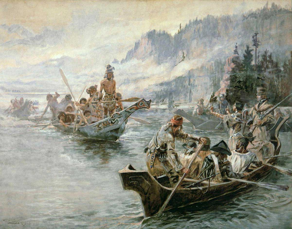 Charles Marion Russell-1905-Lewis & Clark on the Lower Columbia