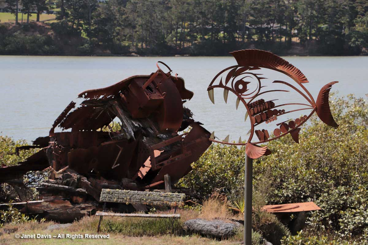 Rusting Hawera & iron garden sculpture-Totara Waters