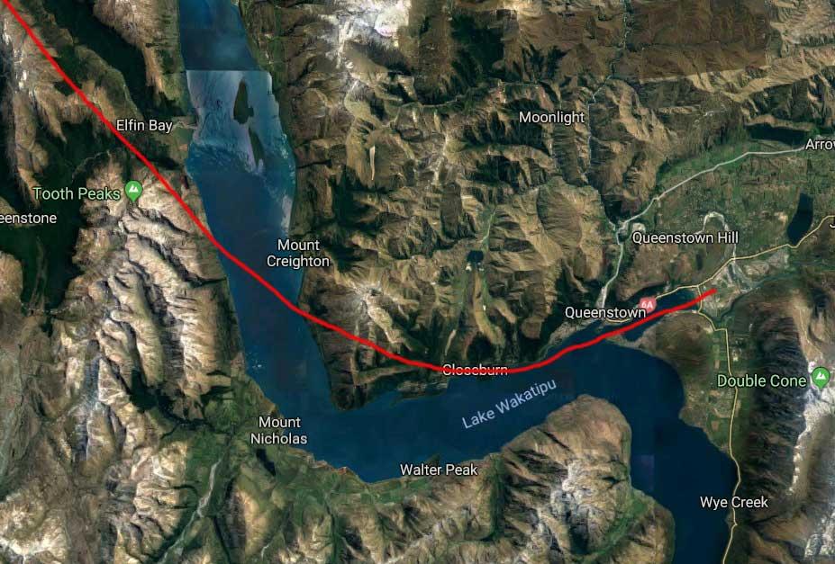 Lake Wakatipu-Frankton Arm-Queenstown-flight route