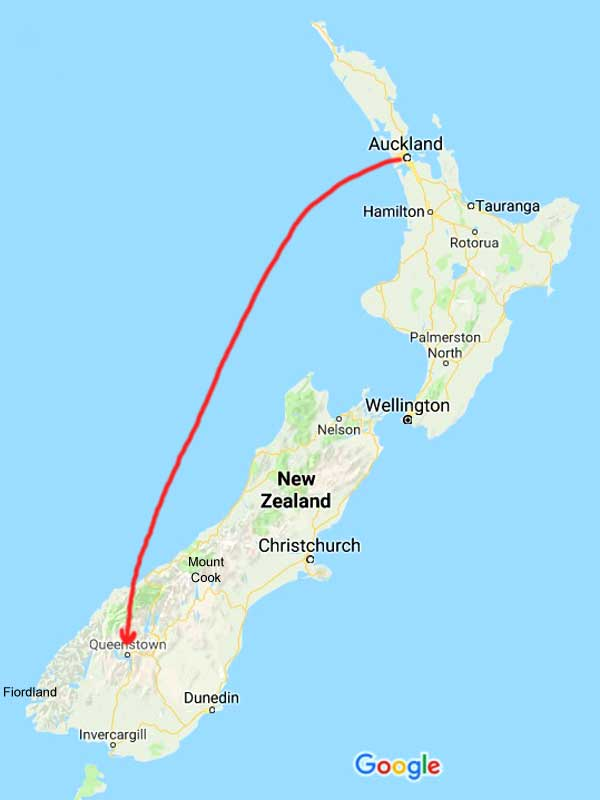 New Zealand-Auckland to Queenstown-Flight