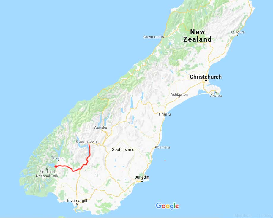 Queenstown to Fiordland-Google Map
