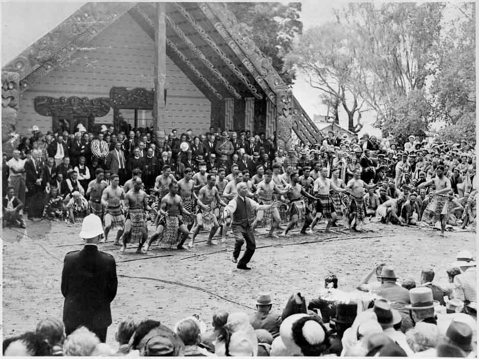 Sir Āpirana Ngata-Haka-1940 Treaty Centennial-Waitangi-Alexander Turnbull Library